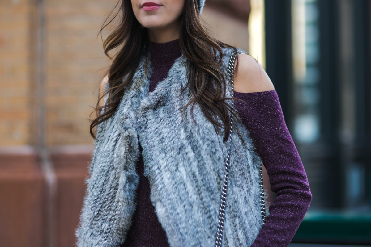 6057ae6e6a2e3 Style Tip  Try a Cold Shoulder with Fur Vest - Obsessions Now